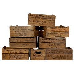 Set of 8 Original Old Wooden Decorative Boxes