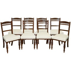 Set of 8 Original Victorian Mahogany Maple & Co. Dining Chairs Calico Upholstery