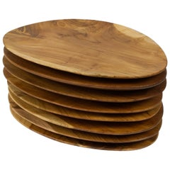 Set of 8 Oval Shaped Solid Teak Trays or Serving Plates, Hand Carved