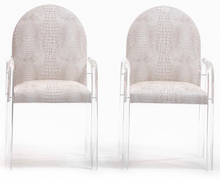 Set of 8 Pace Dining Armchairs in Ivory Crocodile Leatherette , circa 1970s For Sale 4