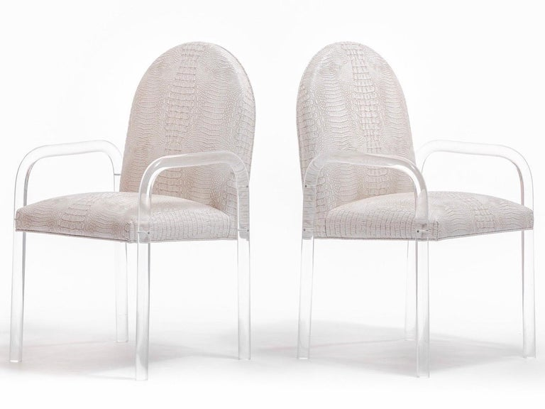 Set of 8 Pace Dining Armchairs in Ivory Crocodile Leatherette , circa 1970s For Sale 6