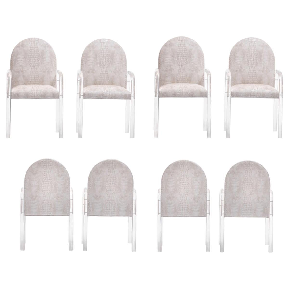Set of 8 Pace Dining Armchairs in Ivory Crocodile Leatherette , circa 1970s
