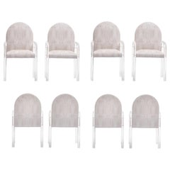 Set of 8 Pace Lucite & Ivory Crocodile Leatherette Dining Armchairs, circa 1970s