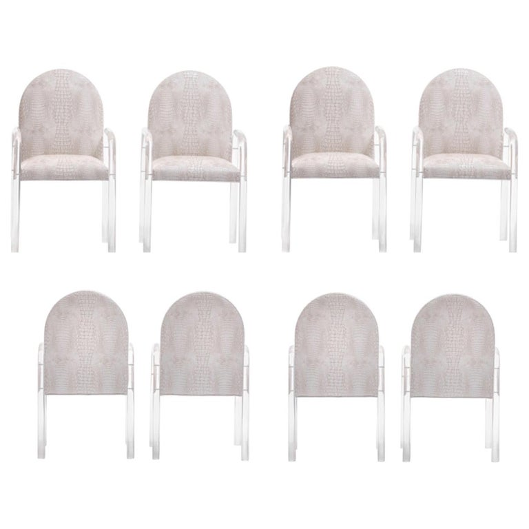 Set of 8 Pace Dining Armchairs in Ivory Crocodile Leatherette , circa 1970s For Sale