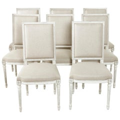 Set of 8 Painted French Louis XVI Style Dining Chairs or Side Chairs in Linen