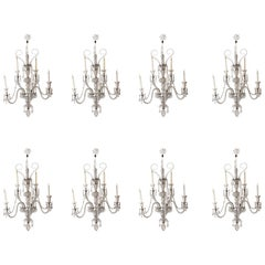 Set of 8 Palatial 19th Century Cut Glass Five-Light Wall Lights Osler Attributed