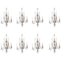 Set of 8 Palatial 19th Century Cut Glass Five-Light Wall Lights Osler Attributed