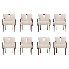 Set of 8 Paul Frankl Corset Back Dining Armchairs in Ivory White Bouclé, c. 1950