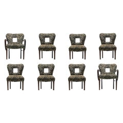 Set of 8 Paul Frankl Dining Chairs in Zebra Cut Velvet with Gold Brocade c. 1950