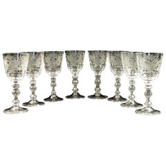 Set of 8 Pieces of Wine Glasses, Tsarist Russian Glass of the 20th Century