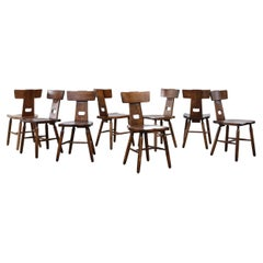 Set of 8 Pierre Chapo Style Brutalist T-Back Dining Chairs
