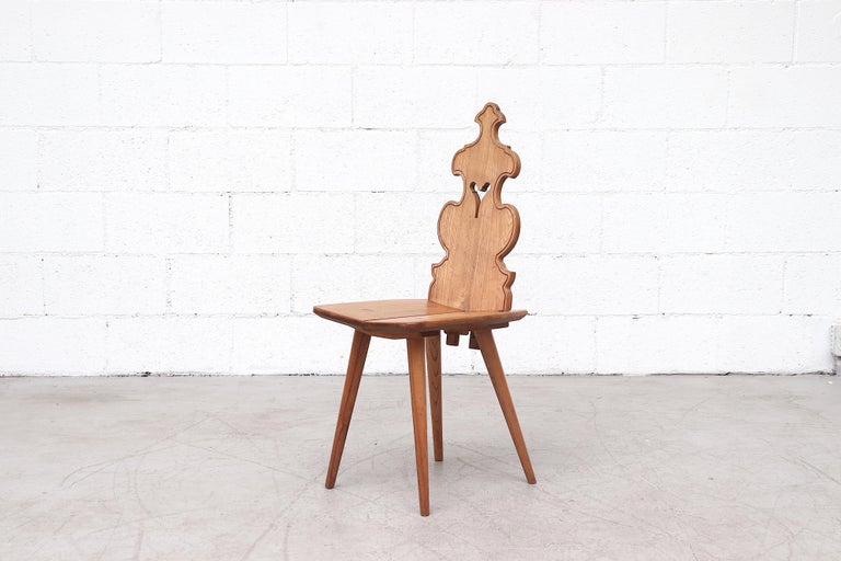Dutch Set of 8 Pine Dining Chairs with Decorative Backrest