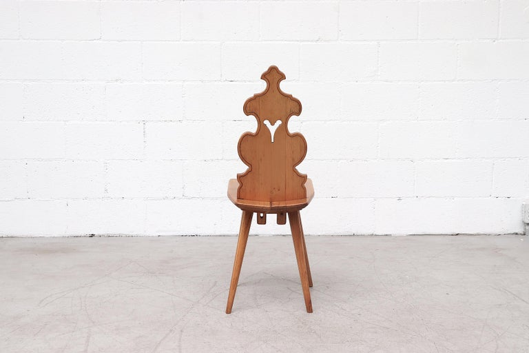 Wood Set of 8 Pine Dining Chairs with Decorative Backrest