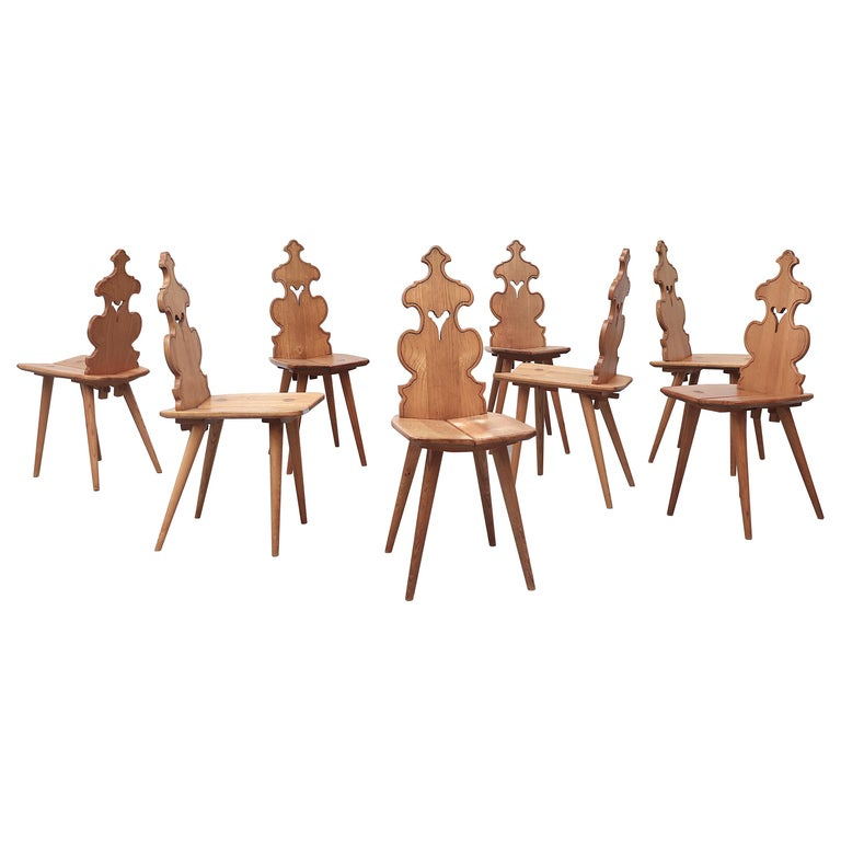 Set of 8 Pine Dining Chairs with Decorative Backrest