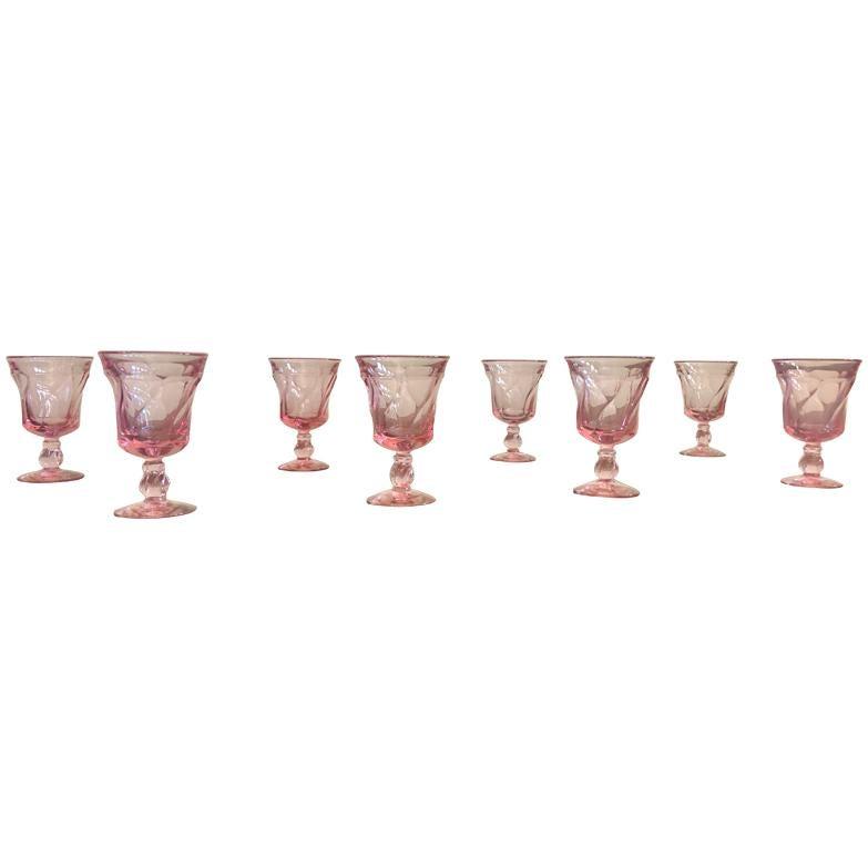 Set of 8 Pink Fostoria Wine Glasses