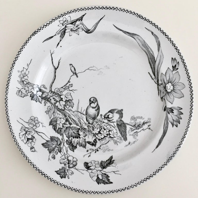 Hand-Crafted Set of 8 Plates, Aesthetic Movement Birds, Jacob Baggaley, 1880s For Sale
