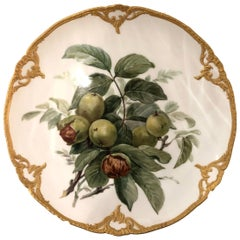 Set of Eight Porcelain Dessert Plates depicting Fruit with 14k Gold Detail