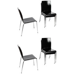 Set of 8 Poro L-Black Dining Chairs in Beech, Made in Switzerland