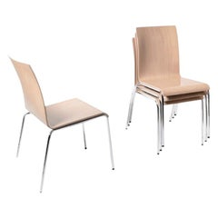 Set of 8 Poro L-Chairs, Beech Natural, Made in Switzerland