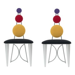 Set of 8 Post Modern Multi-Colored Memphis Style Chairs