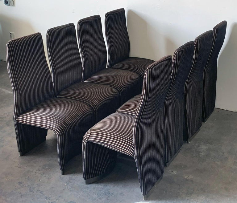 Post-Modern Set of 8 Postmodern Velvet Upholstered Dining Chairs