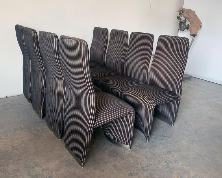 Set of 8 Postmodern Velvet Upholstered Dining Chairs In Good Condition In Tempe, AZ