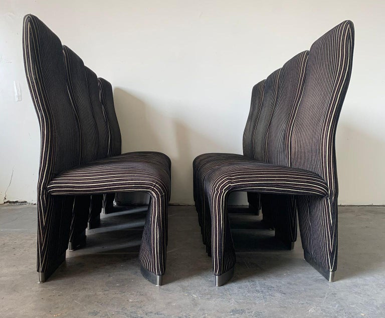 Late 20th Century Set of 8 Postmodern Velvet Upholstered Dining Chairs