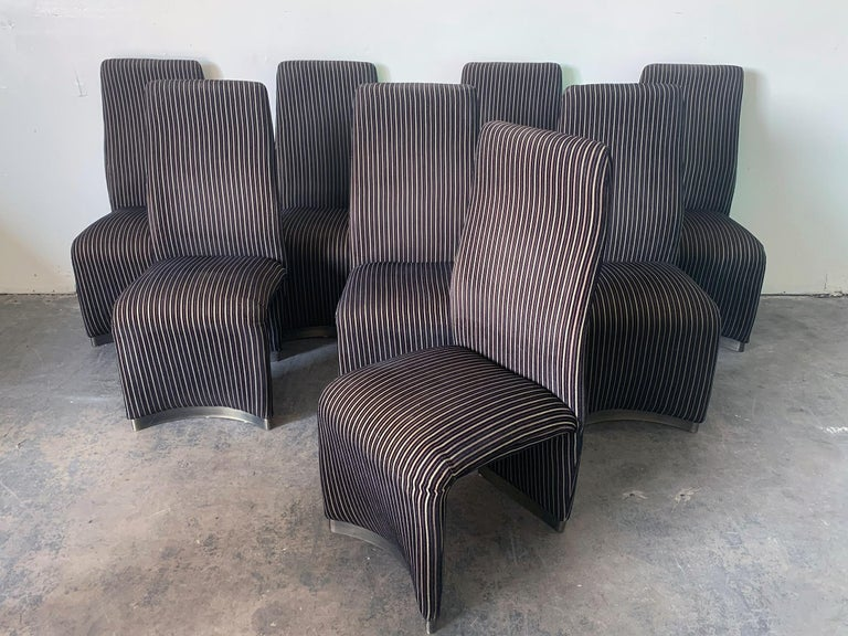 Set of 8 Postmodern Velvet Upholstered Dining Chairs 2