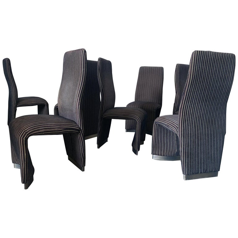 Set of 8 Postmodern Velvet Upholstered Dining Chairs