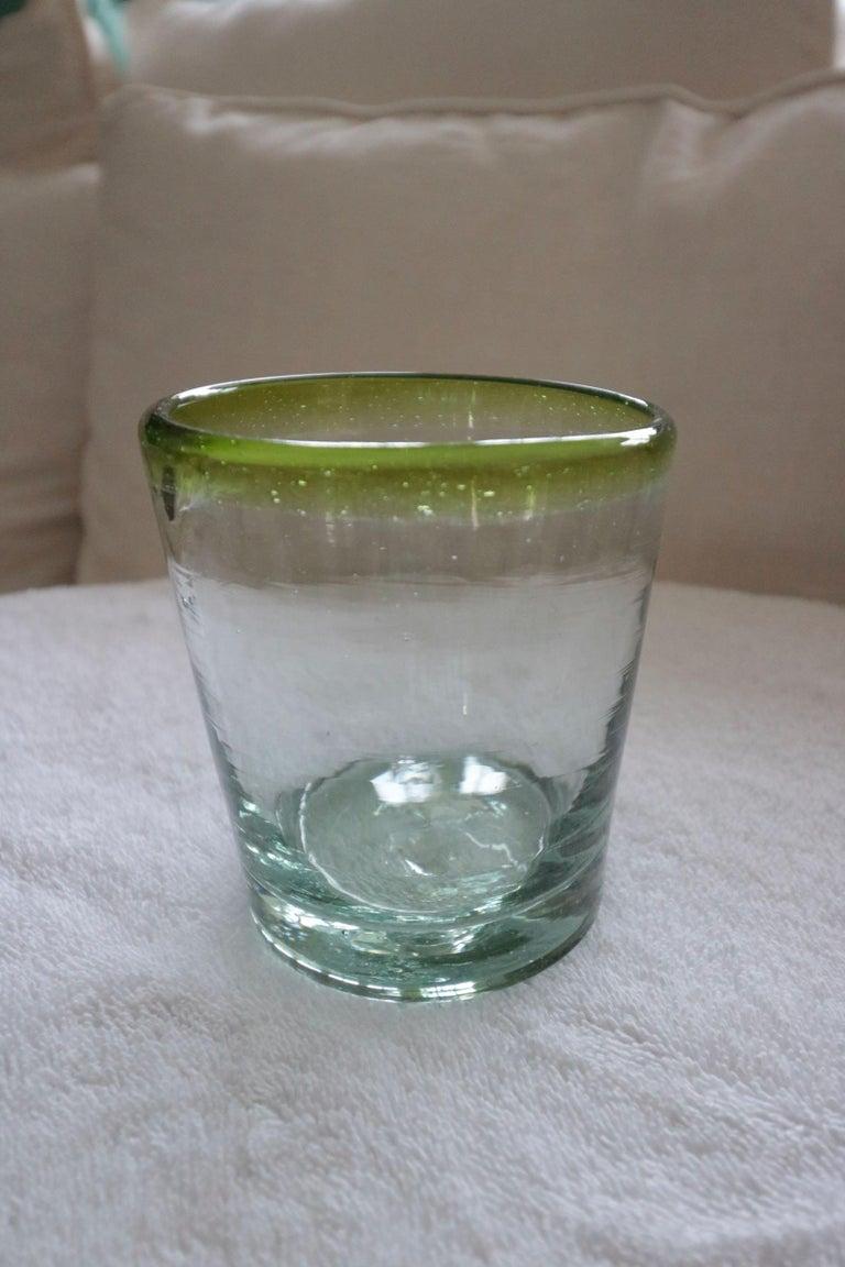 Unknown Set of 8 Pretty Sea Glass Green Murano Hand Blown Glass Ware For Sale