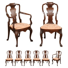 Set of 8 Queen Anne Style English Walnut Dining Chairs, 20th Century