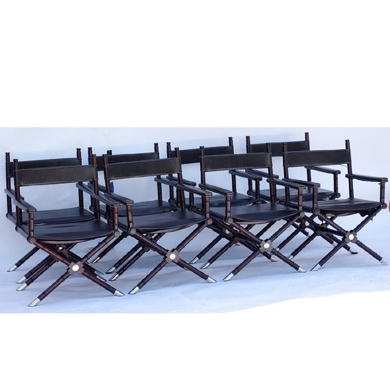 Set of eight (8) Ralph Lauren Director's Chairs. Wooden frame with saddle seat and nickel-plated feet. From the former Jupiter Island, Florida estate of Ms. Celine Dion.