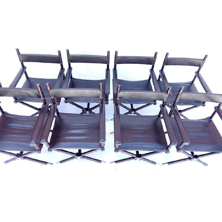 North American Set of 8 Ralph Lauren Style Director's Chairs For Sale