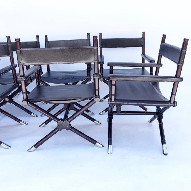 Set of 8 Ralph Lauren Style Director's Chairs In Fair Condition For Sale In NYC, NY