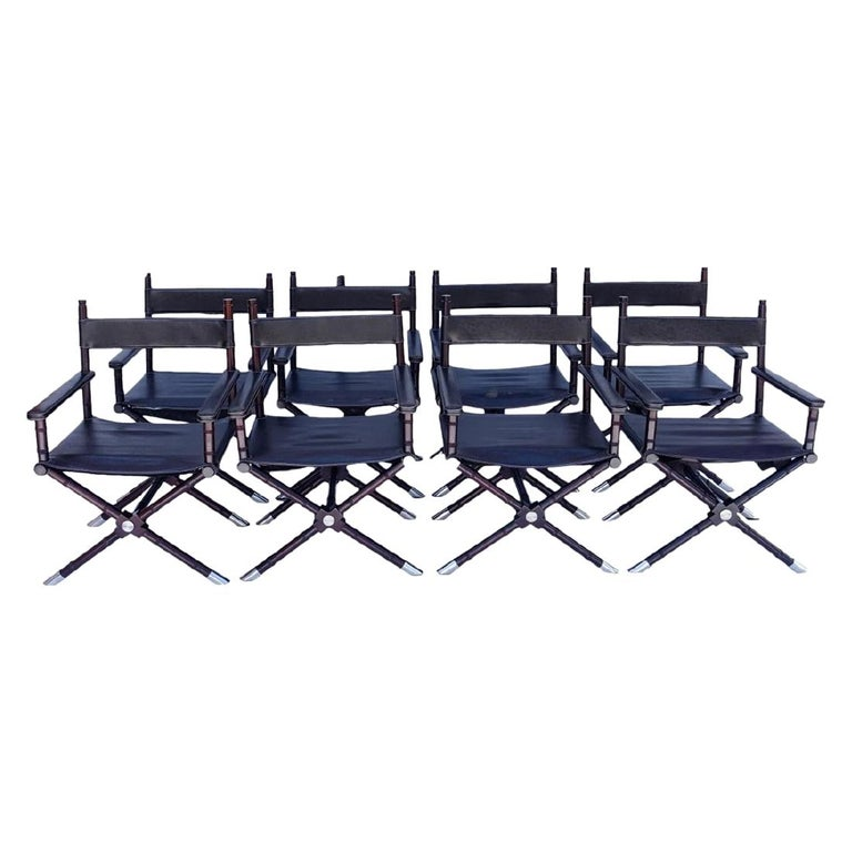 Set of 8 Ralph Lauren Style Director's Chairs For Sale