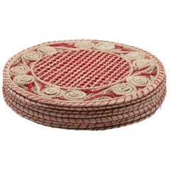 Set of 8 Red and Cream Round Iraca Fibre Placemats