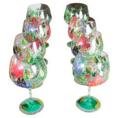 Set of 8 Red Wine Wine Frog Glasses