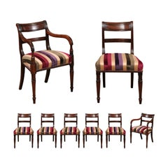 Set of 8 Regency Mahogany Dining Chairs, Early 19th Century, England