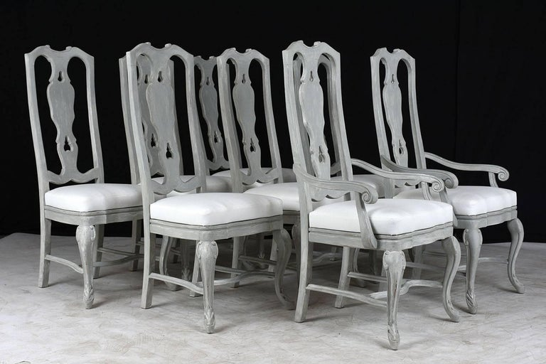 Carved Set of Eight Regency Style Painted Dining Chairs For Sale