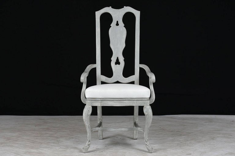 Set of Eight Regency Style Painted Dining Chairs In Good Condition For Sale In Los Angeles, CA