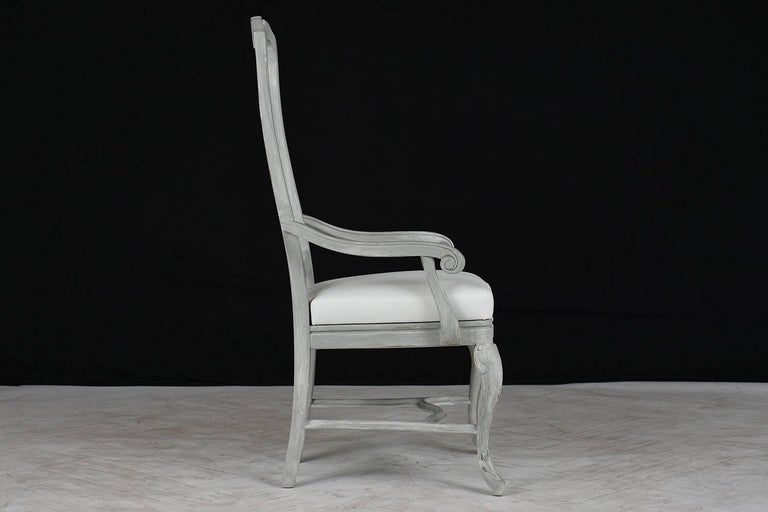 Linen Set of Eight Regency Style Painted Dining Chairs For Sale