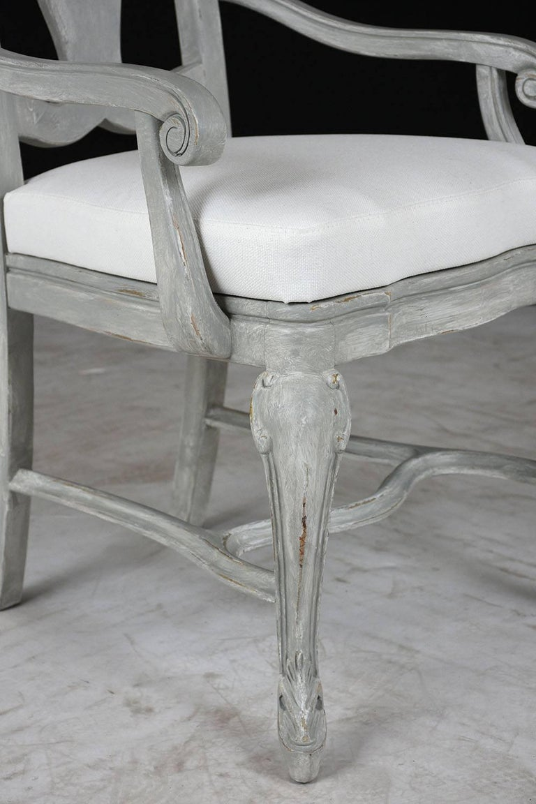 Set of Eight Regency Style Painted Dining Chairs For Sale 2