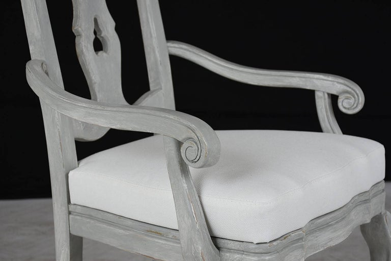 Set of Eight Regency Style Painted Dining Chairs For Sale 3