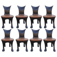 Set of 8 Restored Hoodie Dining Chairs 'With Skinny Jeans' by Jordan Mozer