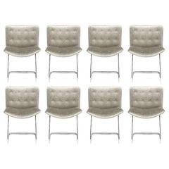 Set of 8 Robert Haussman for Stending Chrome & Velvet Button Back Dining Chairs
