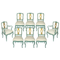 Set of 8 Rococo Style Dining Chairs by Cassard Romano Co.