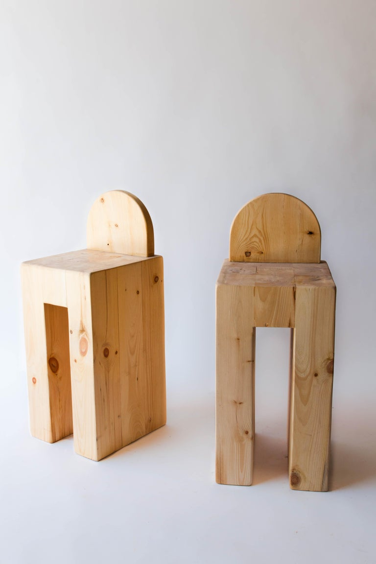 Rustic pine barstools crafted from massive purpose milled lumber in upstate New York. 