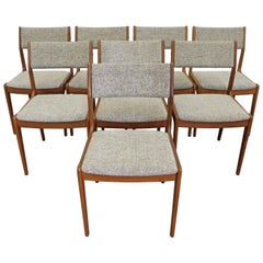 Set of 8 Scandinavian Modern Teak Side Dining Chairs