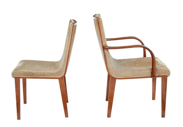 Scandinavian Modern Set of 8 Scandinavian Teak Mid-20th Century Dining Chairs For Sale