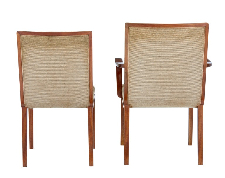 Swedish Set of 8 Scandinavian Teak Mid-20th Century Dining Chairs For Sale